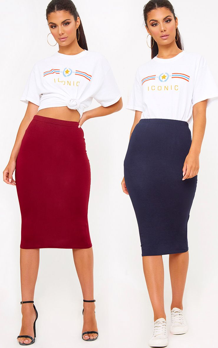 Basic Burgundy & Navy Jersey Midi Skirt 2 Pack
