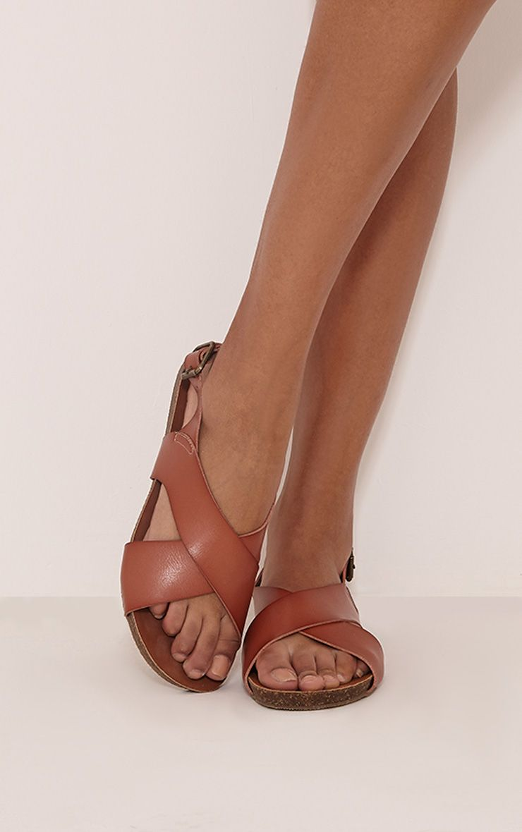 Nia Tan Faux Leather Cross Over Sandals 1