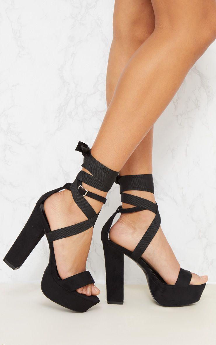 Black Leg Wrap Platform Sandal