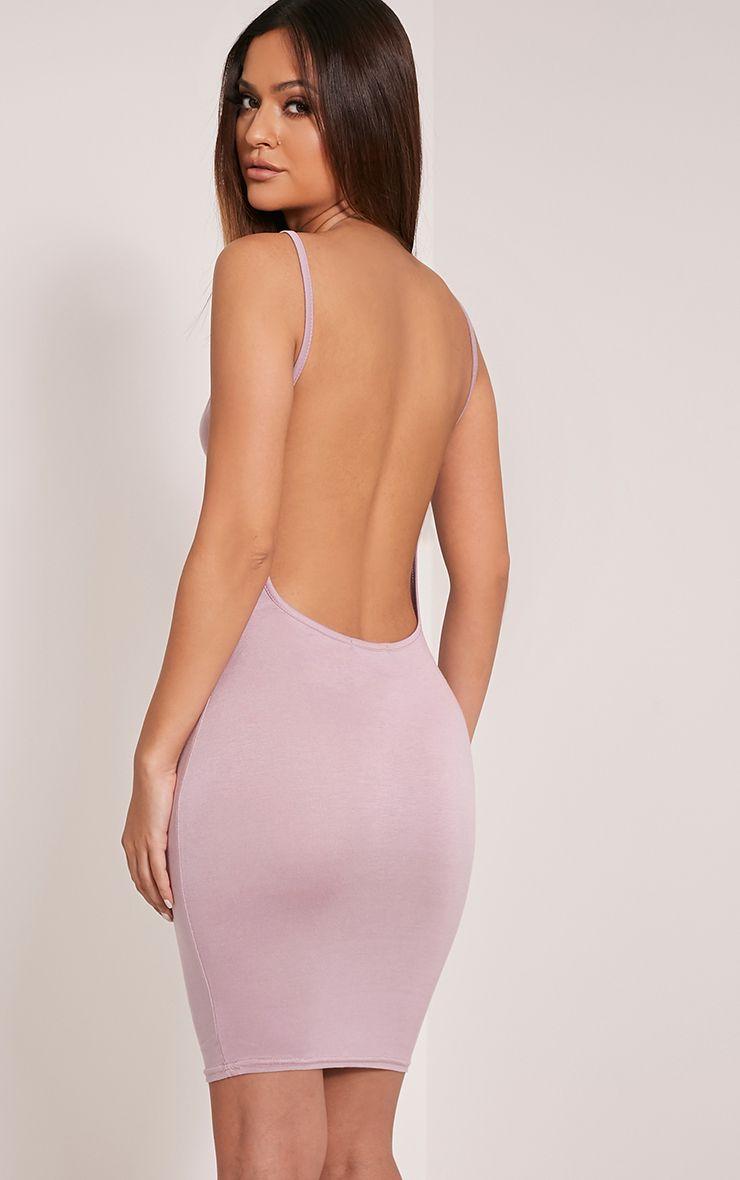Natallia Mauve Scoop Back Dress 1