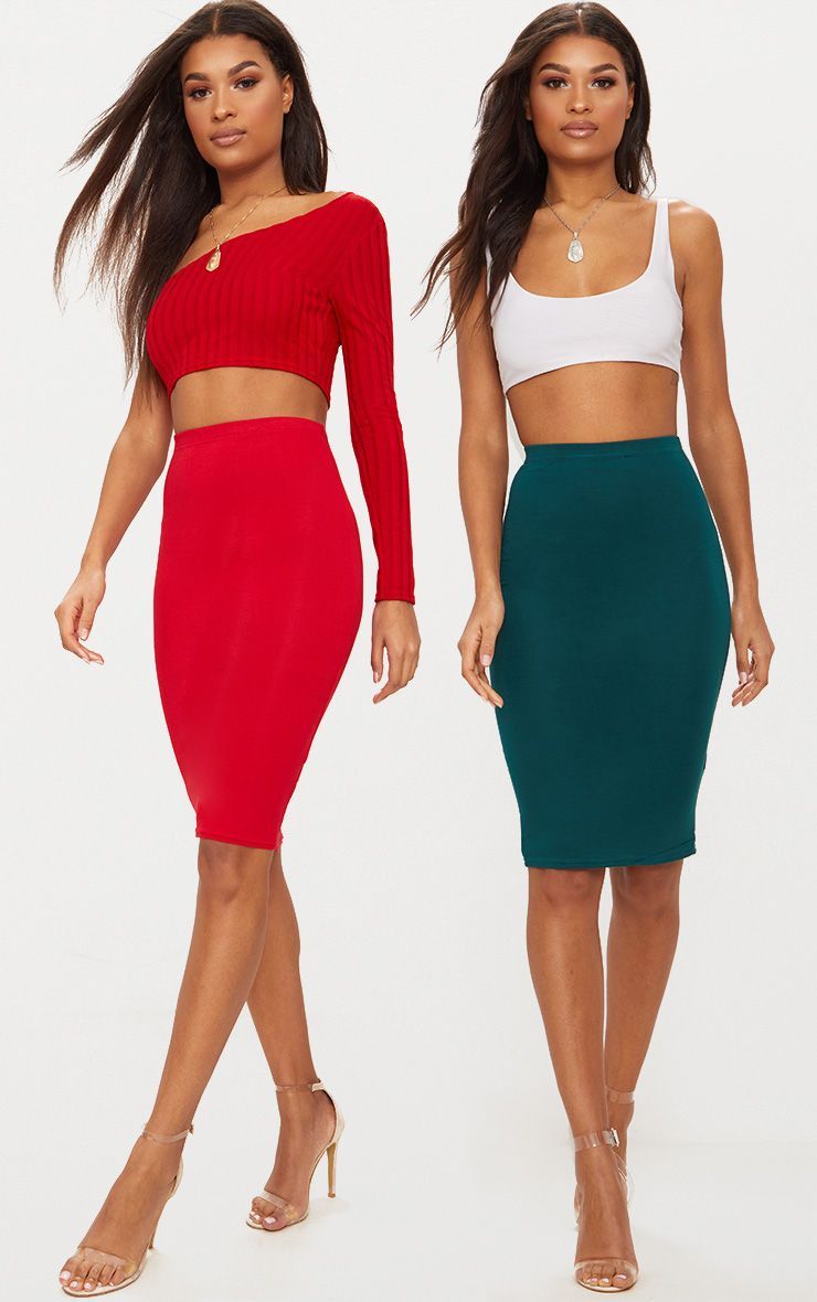 Red & Emerald Green Basic Jersey Midi Skirt 2 Pack