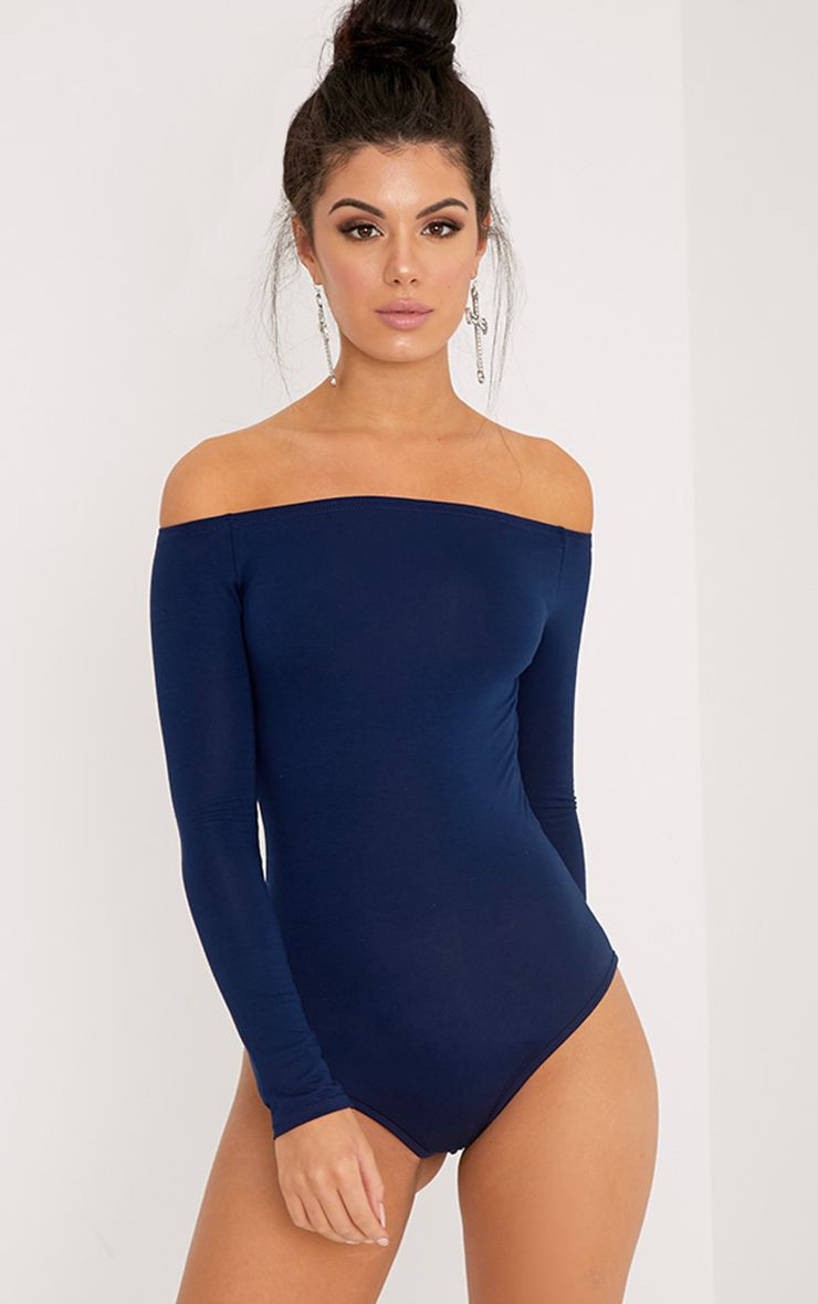 Basic Navy Bardot Bodysuit