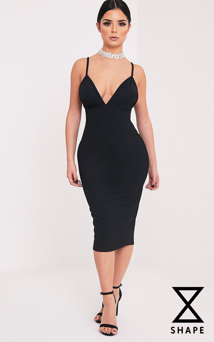 Shape Siana Black Plunge Midaxi Dress