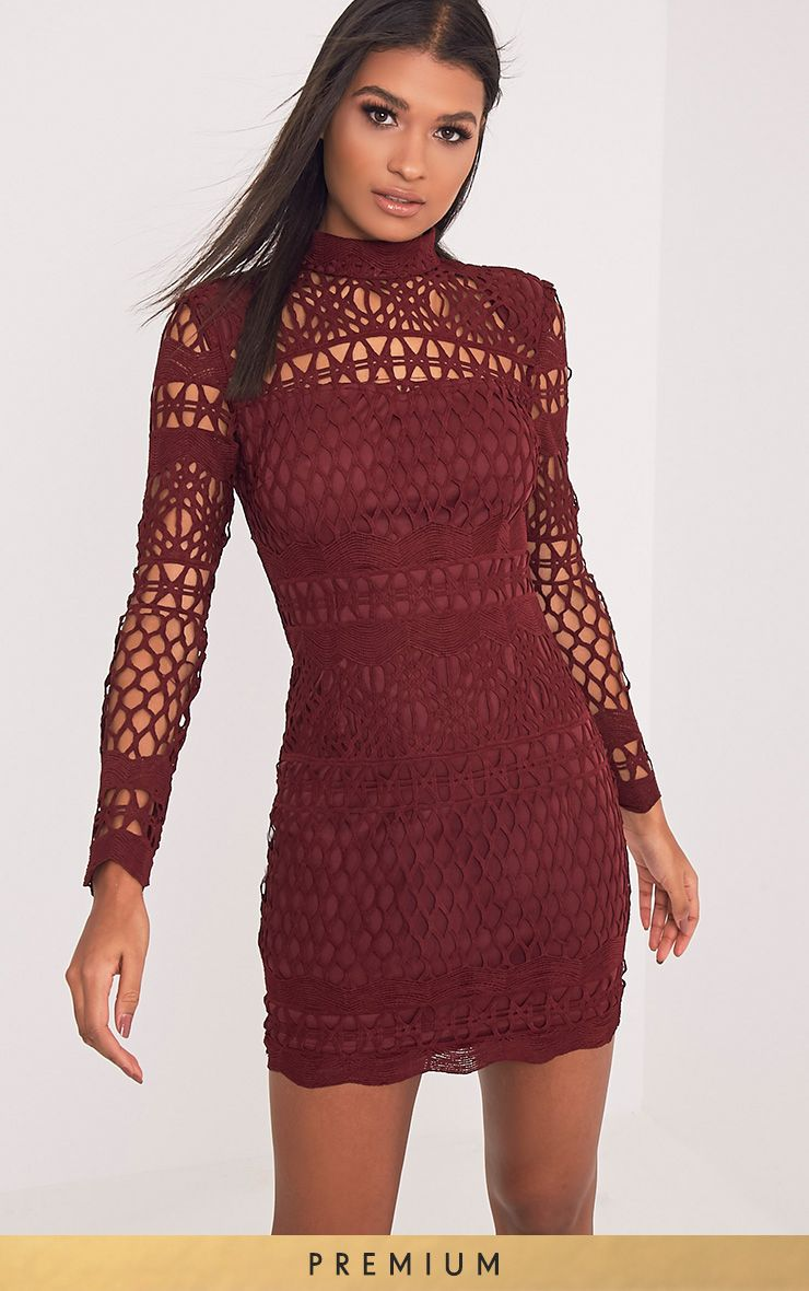 Lexi Burgundy Crochet Lace Long Sleeve Bodycon Dress