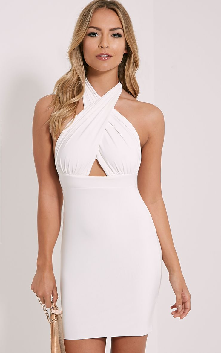 Marisa Cream Cross Front Mini Dress