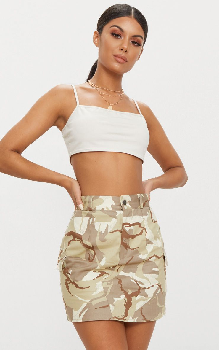 Khaki Camo Cargo Mini Skirt