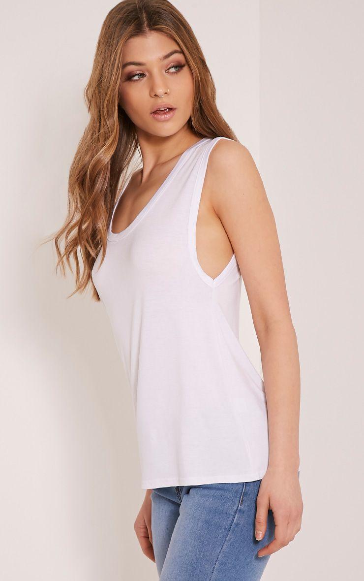 Basic White Drop Arm Hole V Neck T Shirt