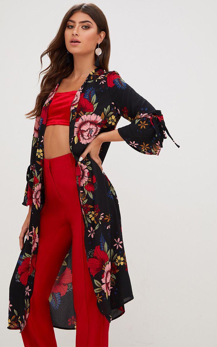 Veste kimono noire florale à manches nouées