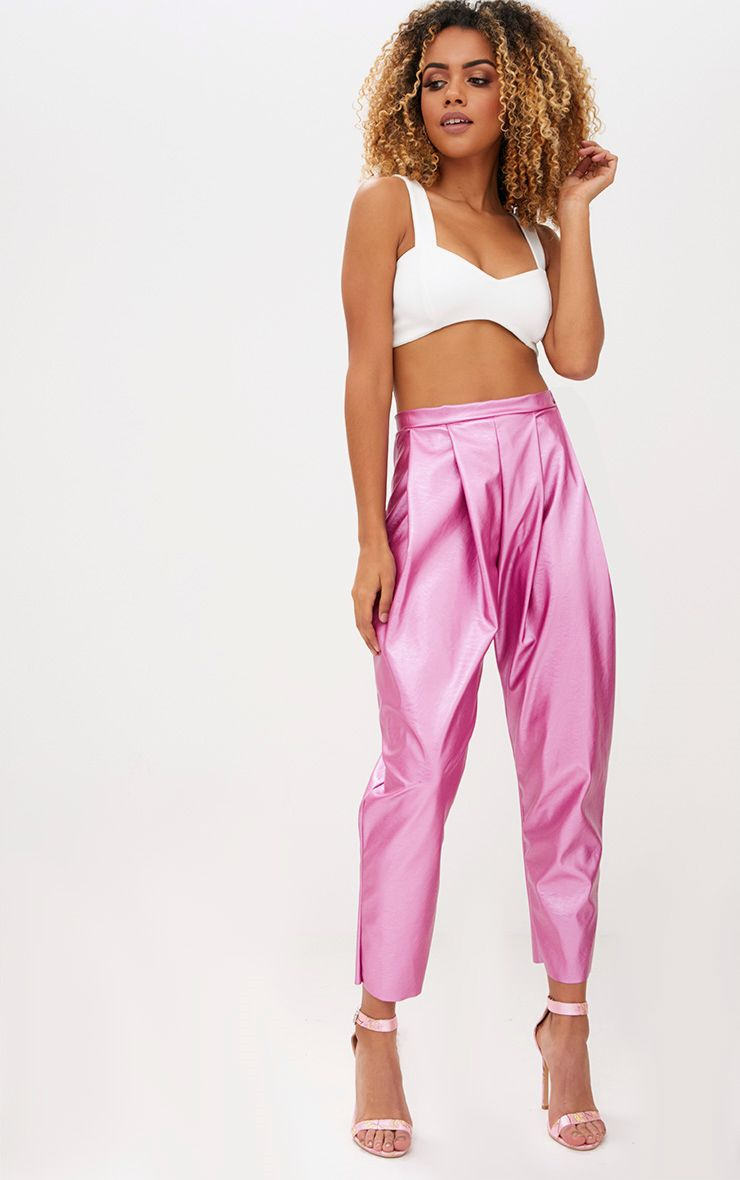 Metallic Pink Faux Leather Peg Trousers