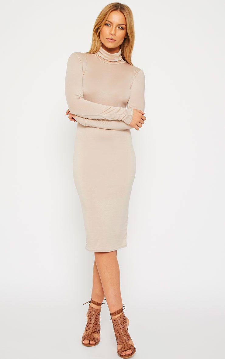 Basic Beige Roll Neck Dress 1