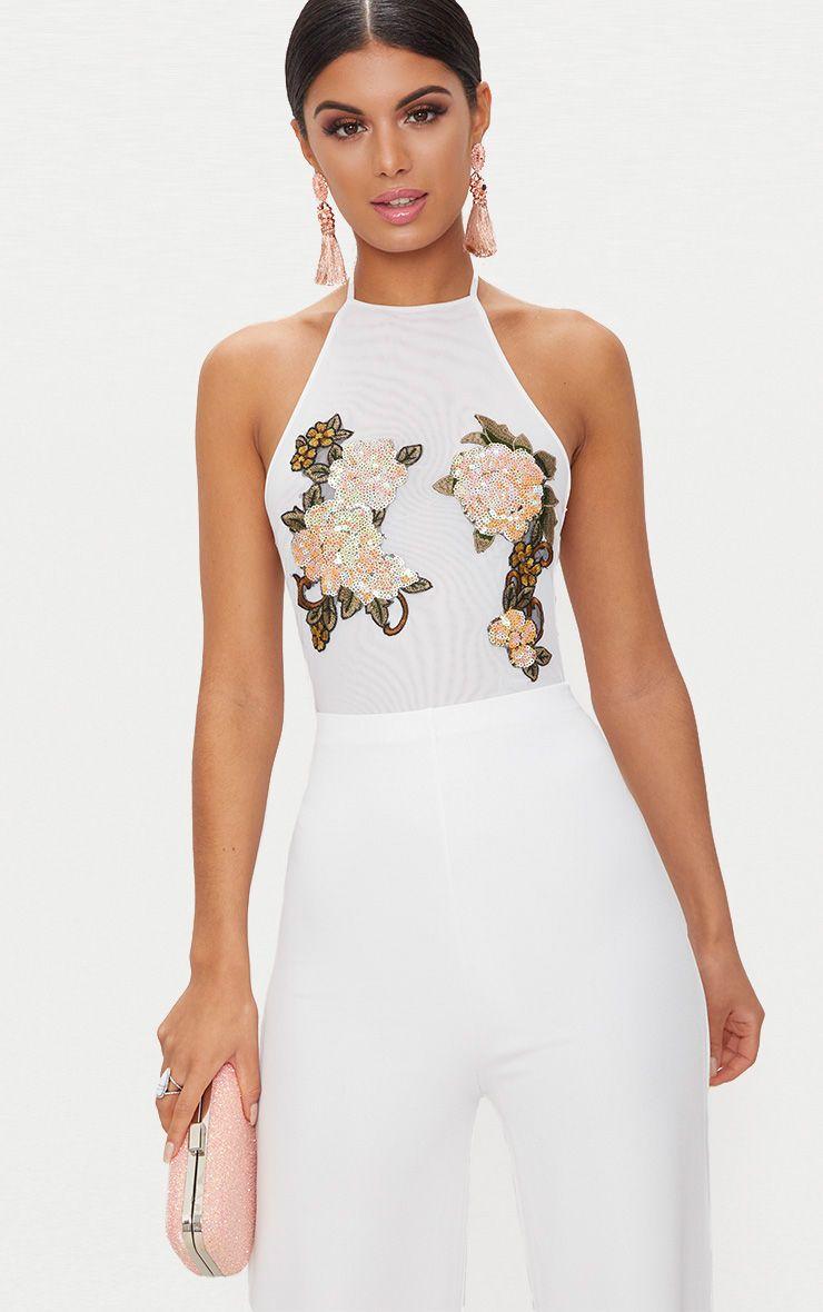 Sabella White Sequin Applique Sheer Mesh Thong Bodysuit 1