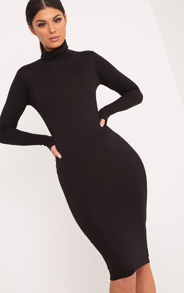 Basic Black Roll Neck Midi Dress