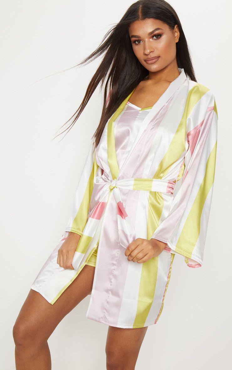 White Candy Stripe Satin Robe