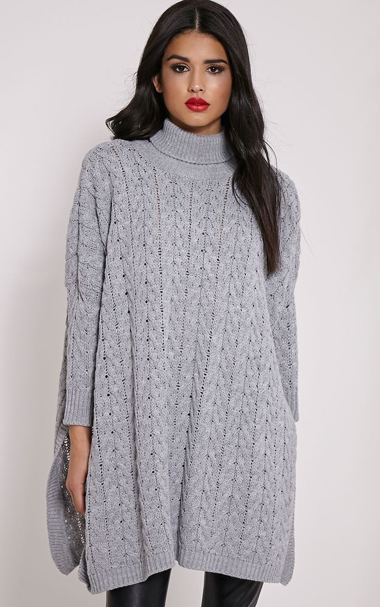 Juju Light Grey Cable Knit Oversized Jumper 1
