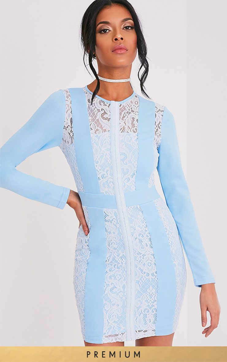 Issie Powder Blue Long Sleeve Lace Panel Bodycon Dress