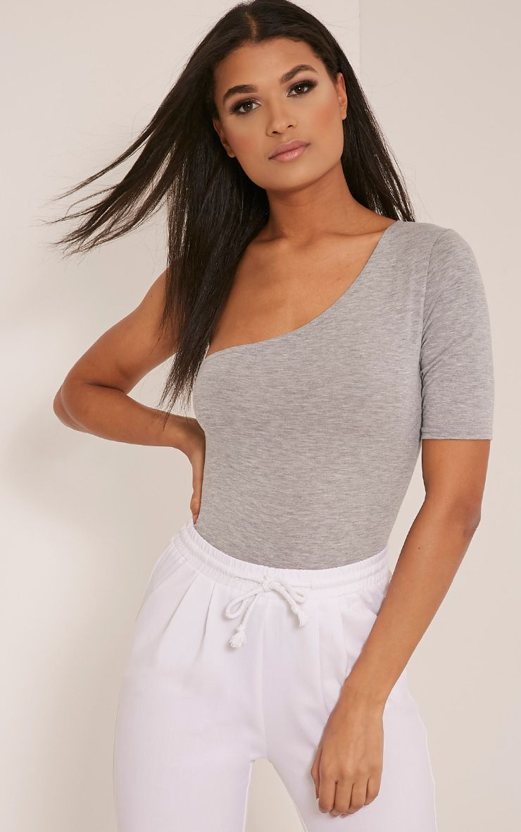 Jess Grey One Shoulder Jersey Thong Bodysuit