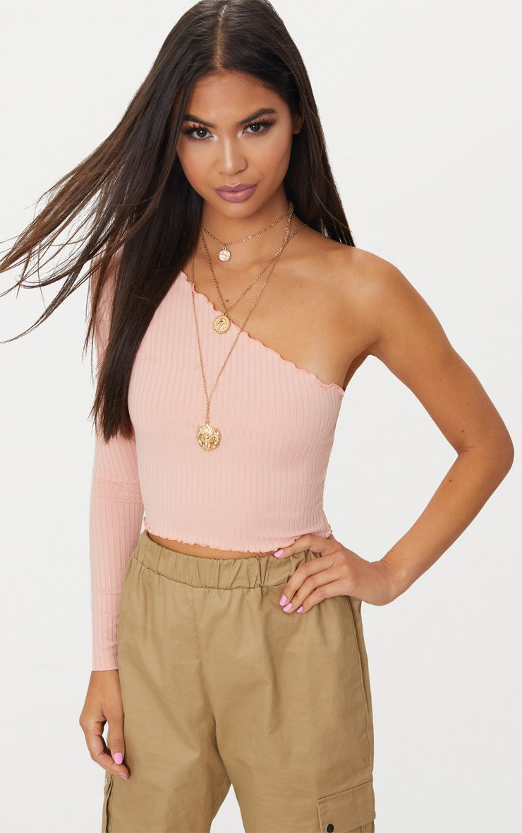 Dusty Pink One Shoulder Rib Frill Edge Crop Top