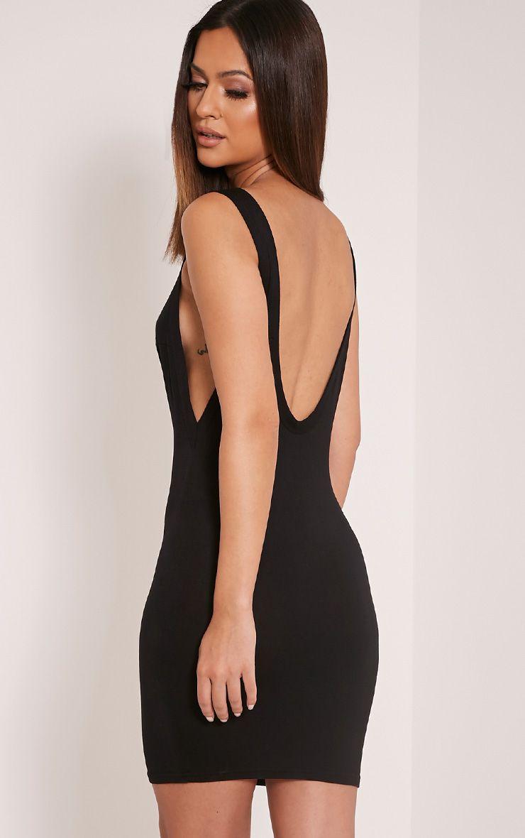 Basic Black Drop Armhole Scoop Back Bodycon Dress 1
