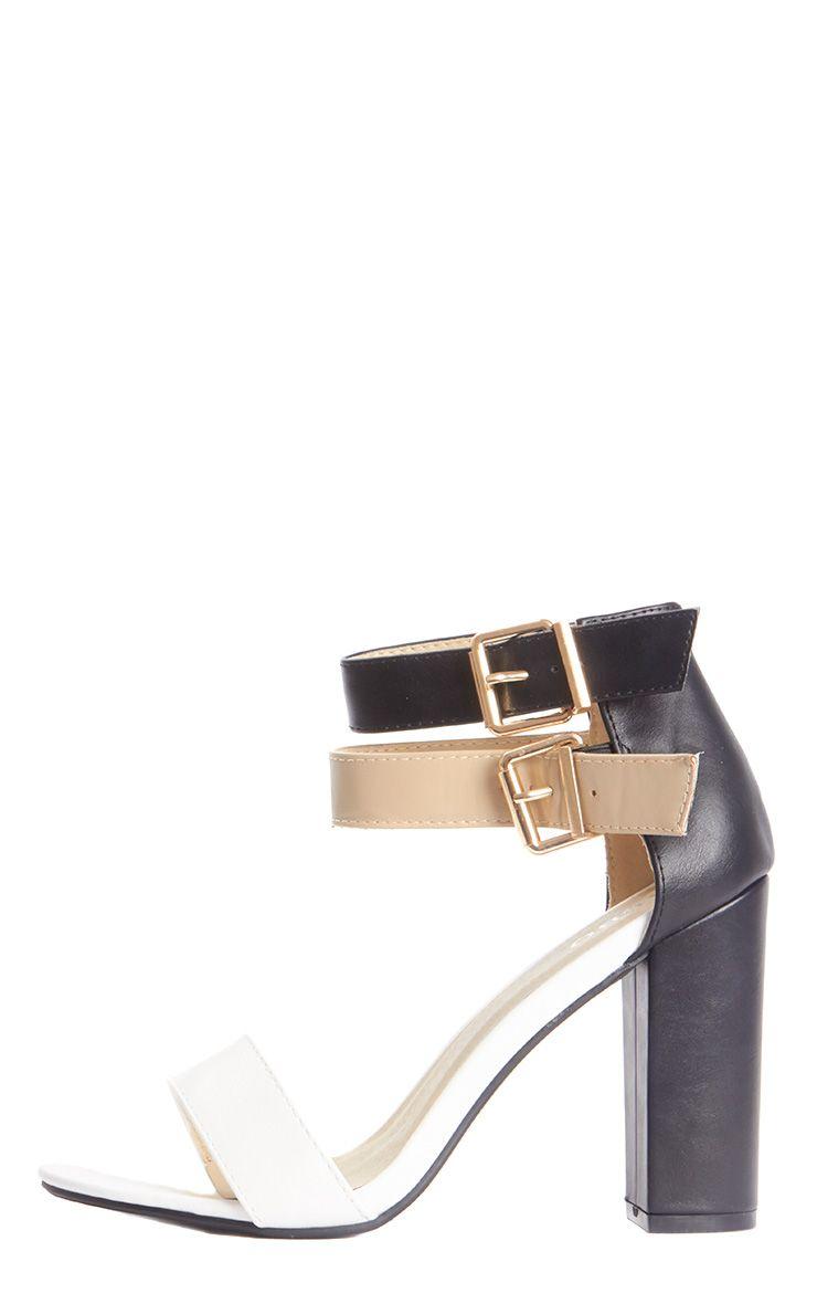 Anya Black Colour Block Heeled Sandal  1