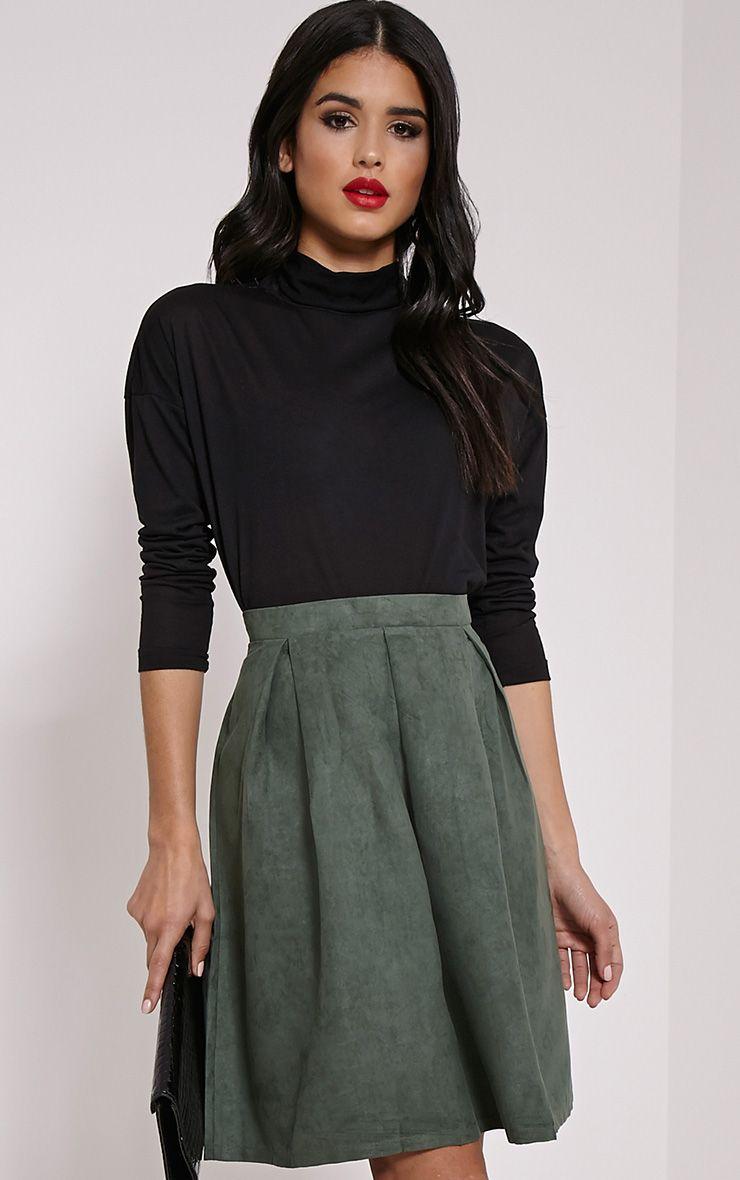 Teagon Khaki Pleated Faux Suede A-Line Midi Skirt 1
