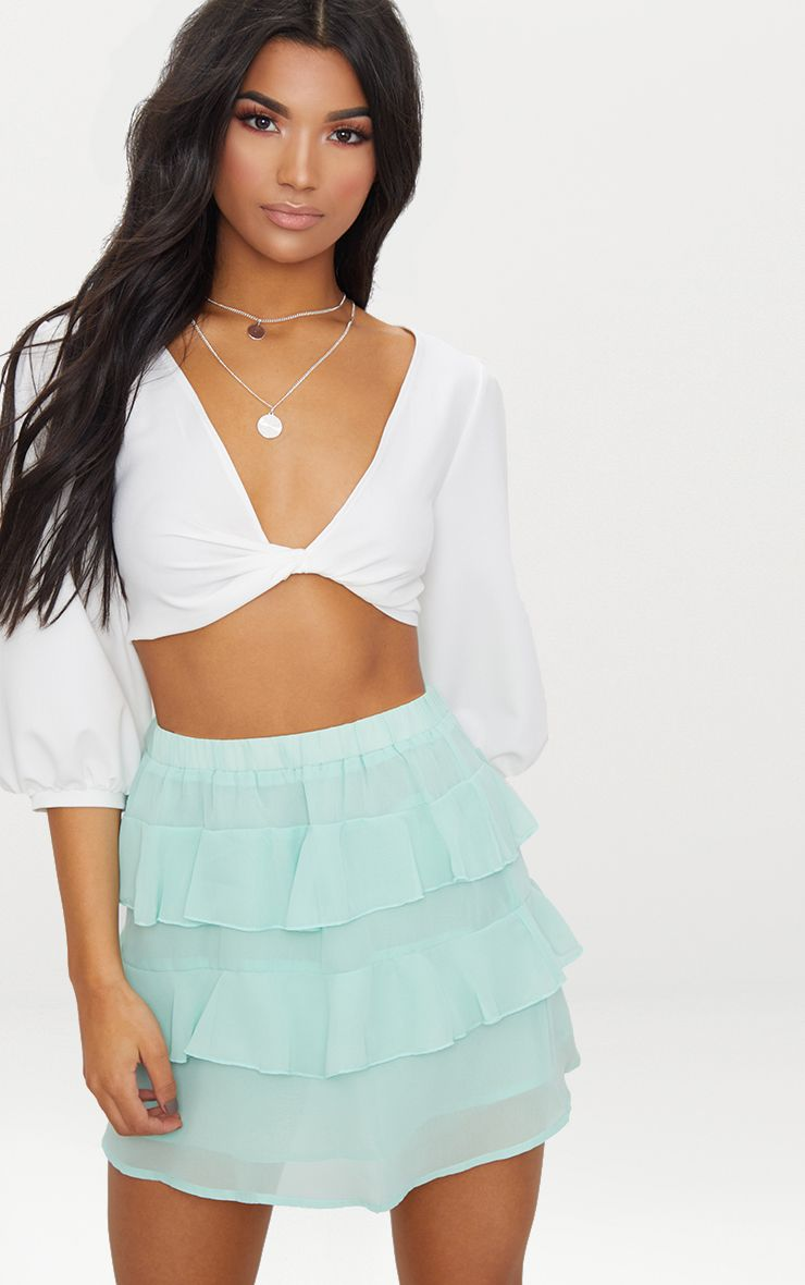 Sage Green Chiffon Ruffle Mini Skirt