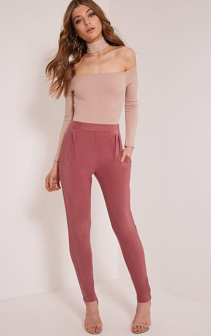 Rinda Rose Slinky High Waisted Peg Trousers 1