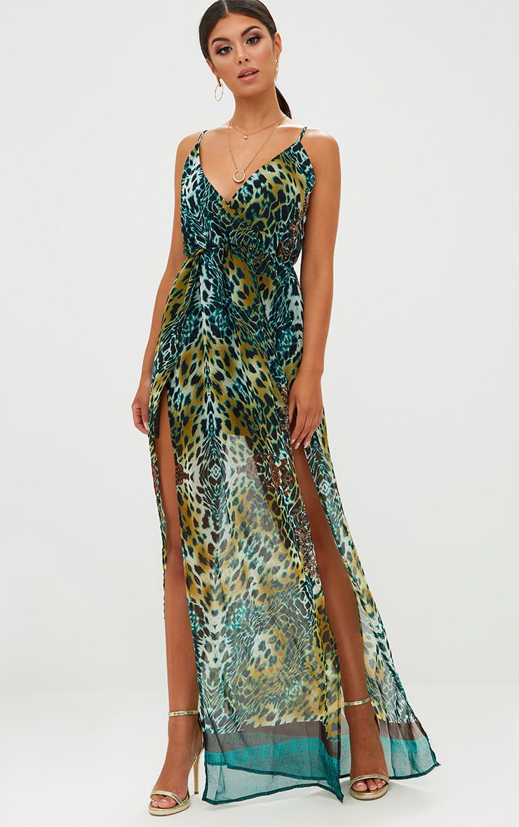 Green Leopard Print Plunge Maxi Dress