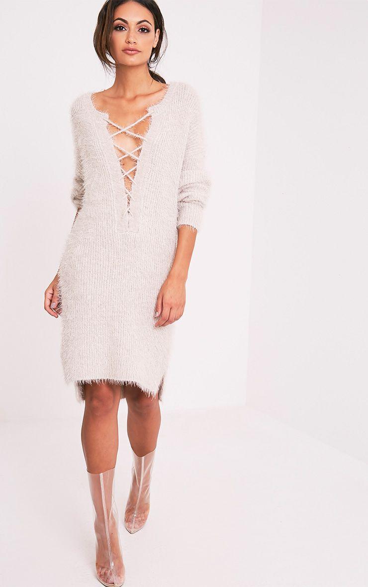 Floraline robe pull en mohair à lacets grise 5