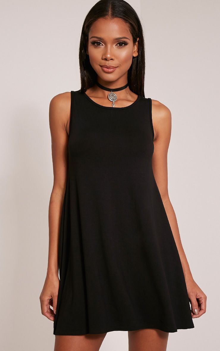 Basic Black Sleeveless Swing Dress 1