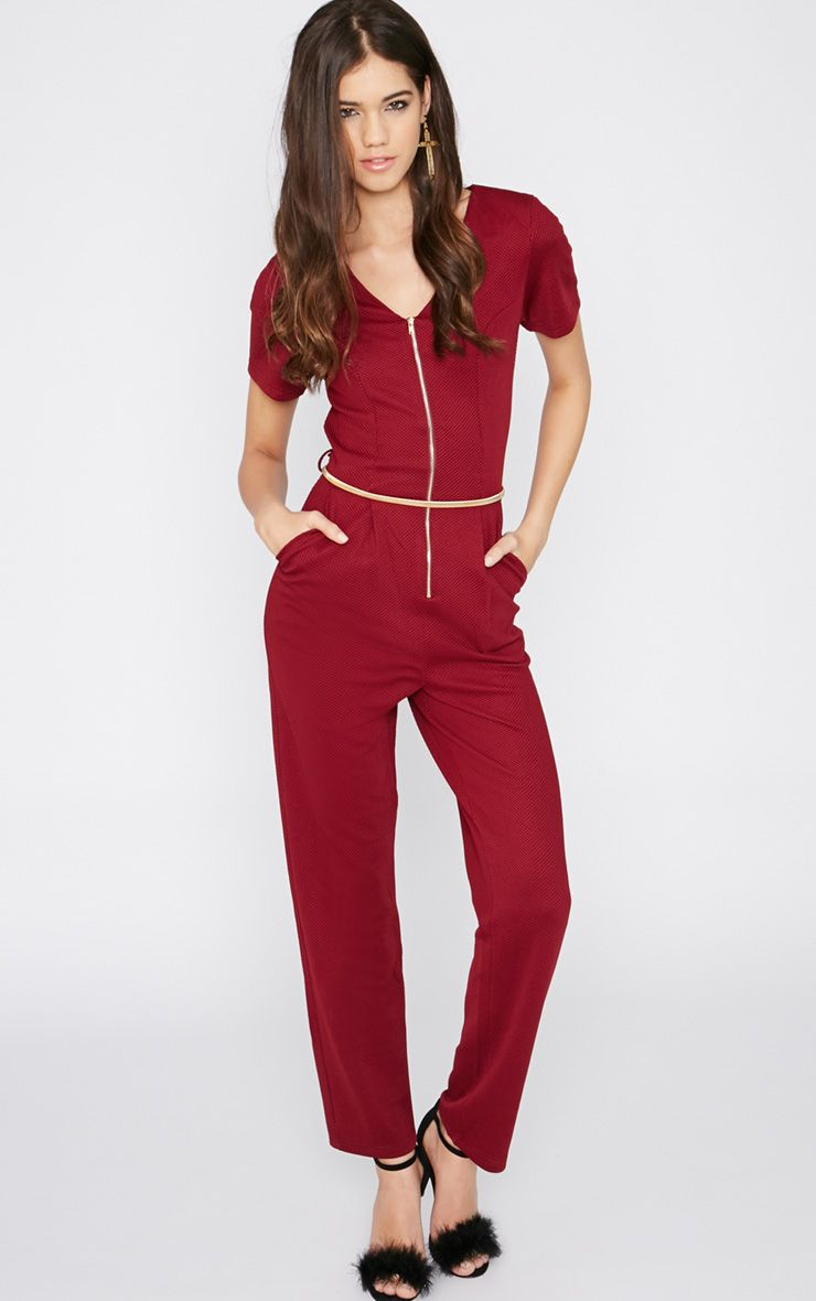 Lenora Burgundy Zip Jumpsuit  1