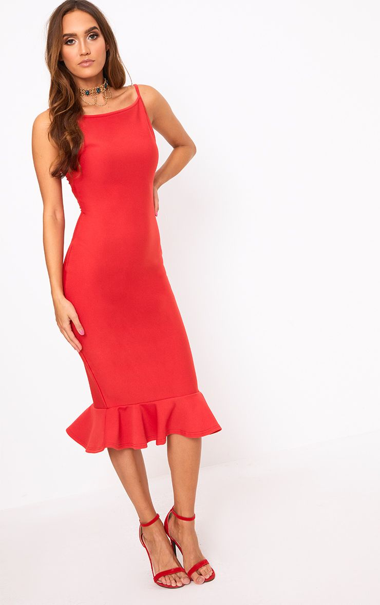 Freada Red Square Neck Frill Hem Midi Dress