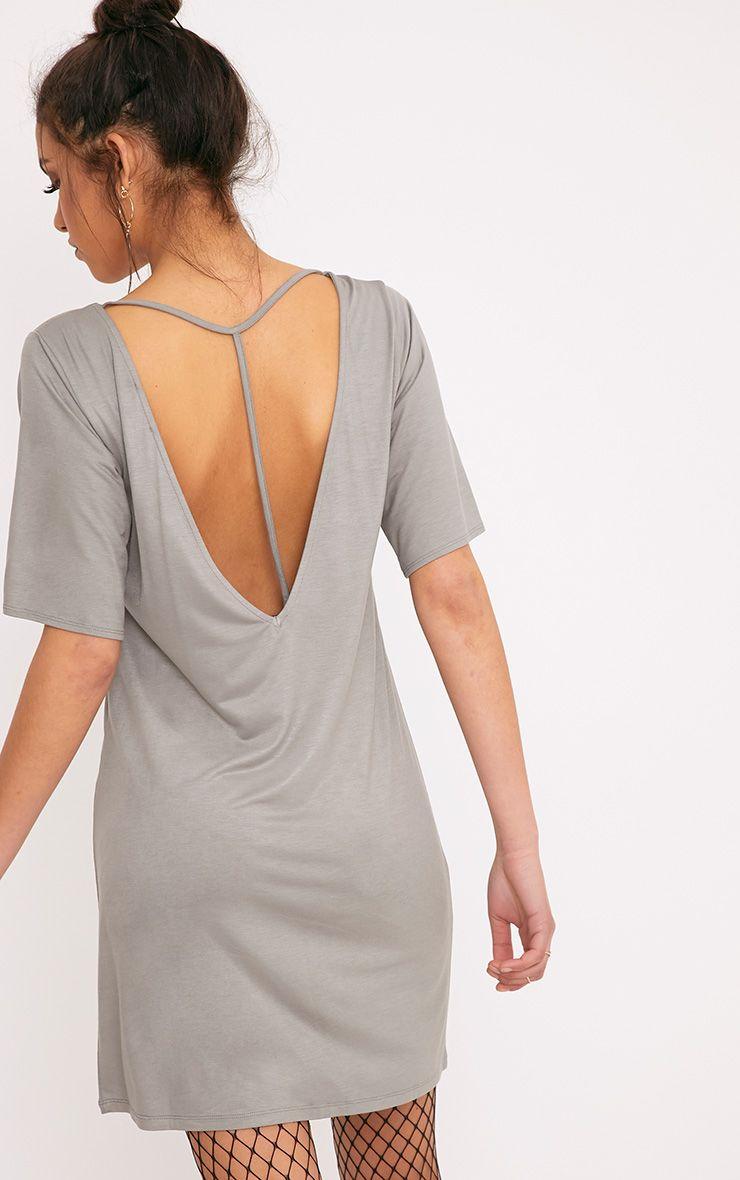 Siar Light Khaki Jersey T Bar T Shirt Dress