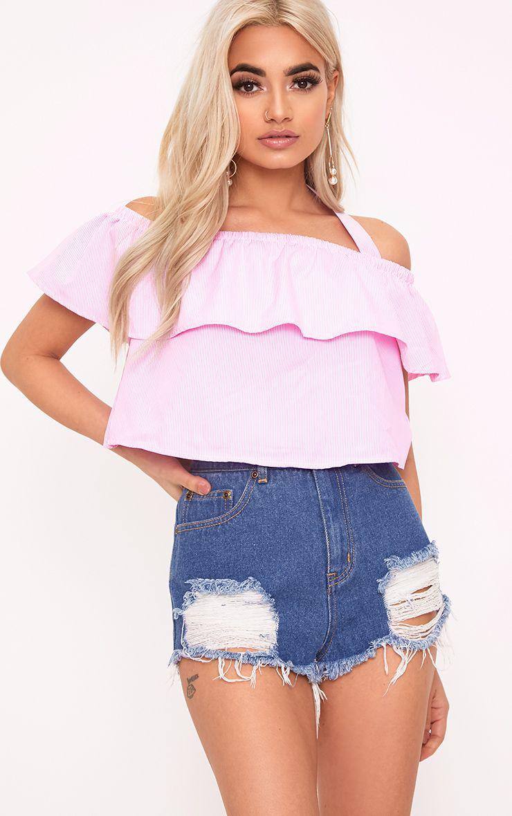 Ashia Pink Stripe Bardot Tie Frill Crop Top