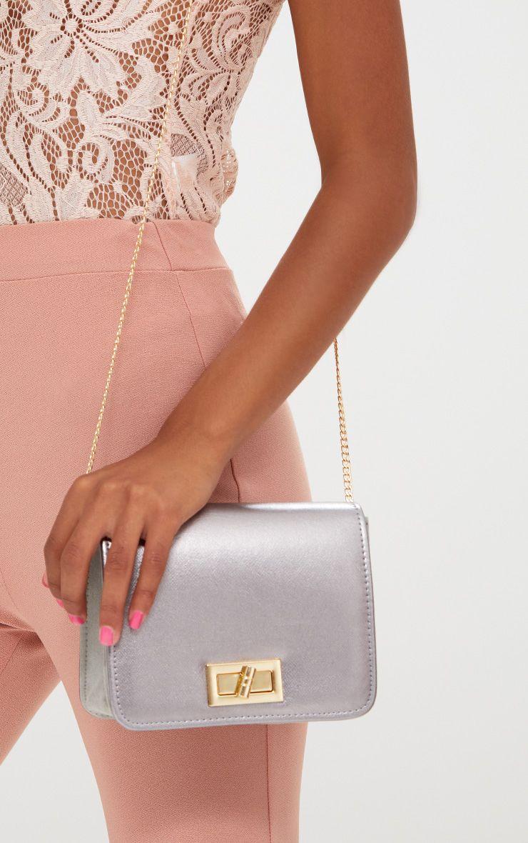 Silver Twist Lock Shoulder Bag