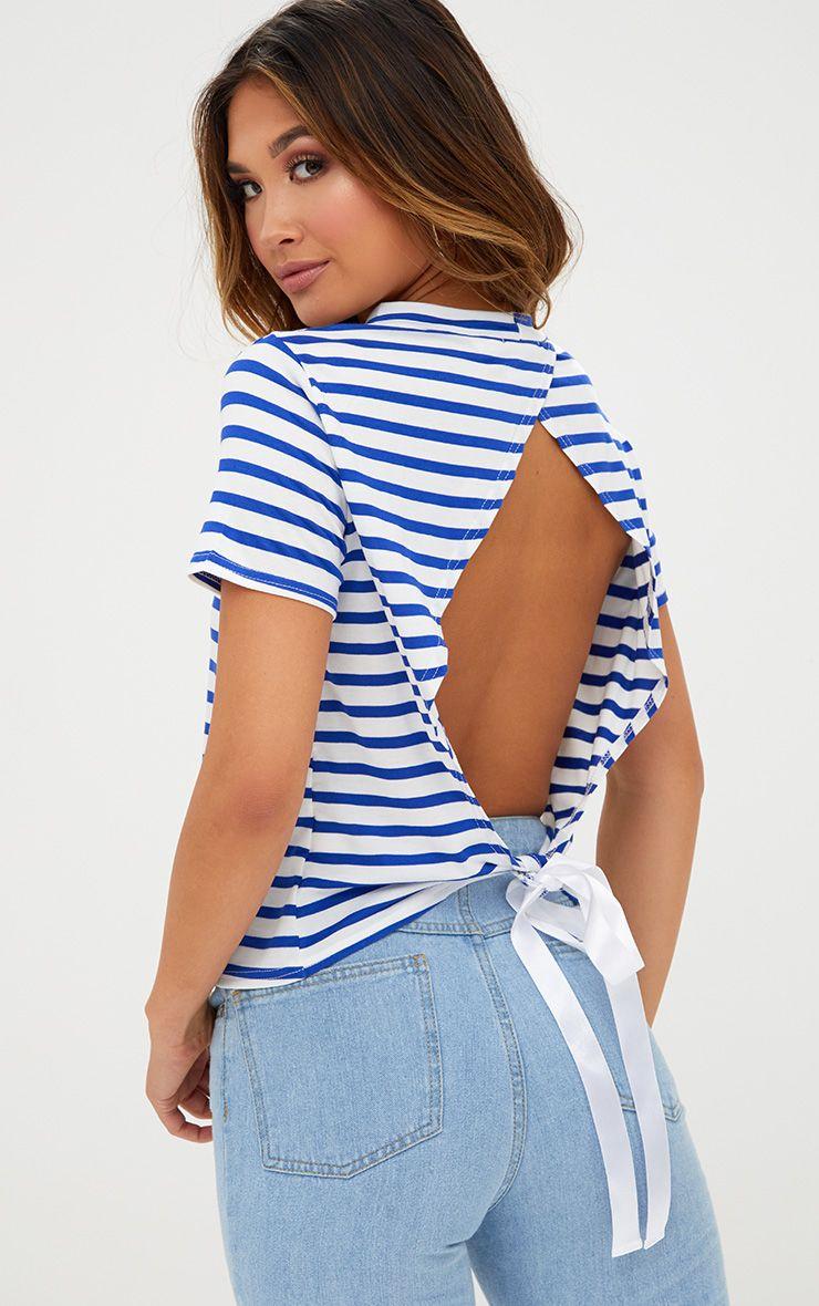 Blue Stripe Ribbon Tie Open Back T Shirt