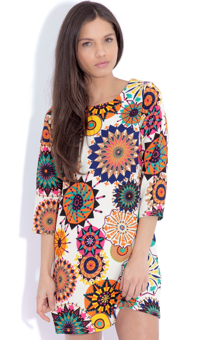 Hope Beige Hippy Print Shift Dress 1