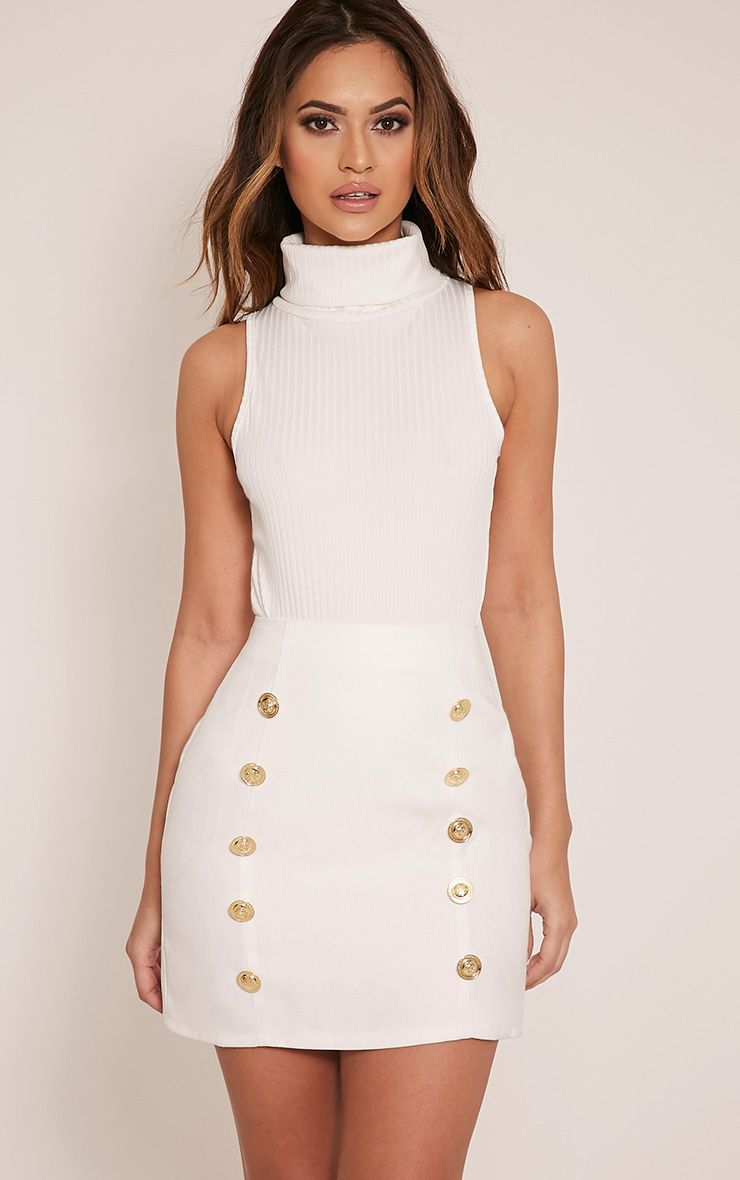 Lydia Cream Ribbed Turtle Neck Bodysuit 1