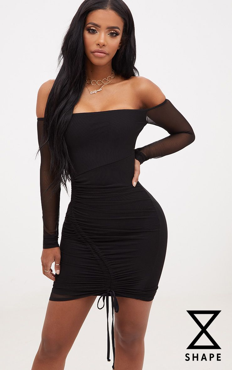 Shape Black Ruched Mesh Bodycon Dress
