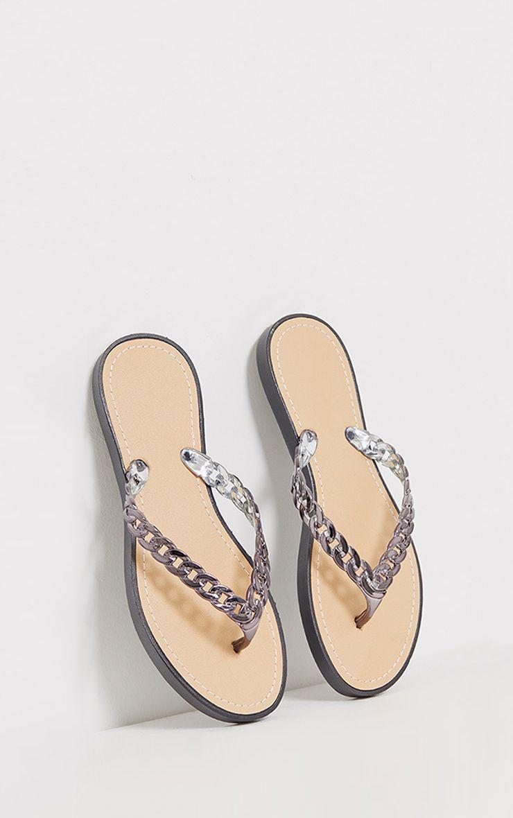 Anyia Black Chain Flip Flops