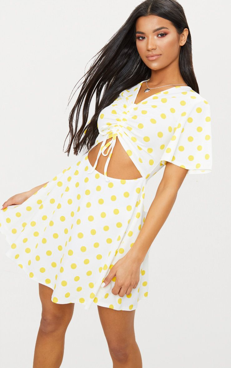 Yellow Polka Dot Cut Out Ruched Detail Swing Dress  1