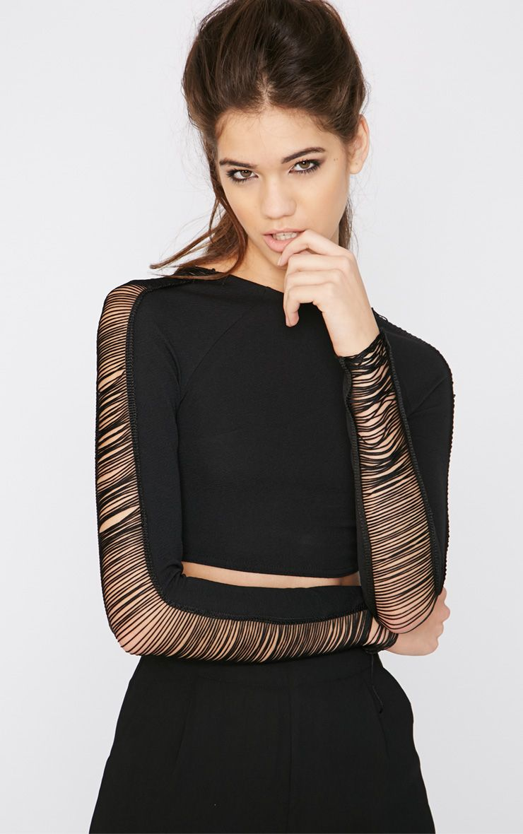 Eleazar Black Fringe Detail Crop Top  1