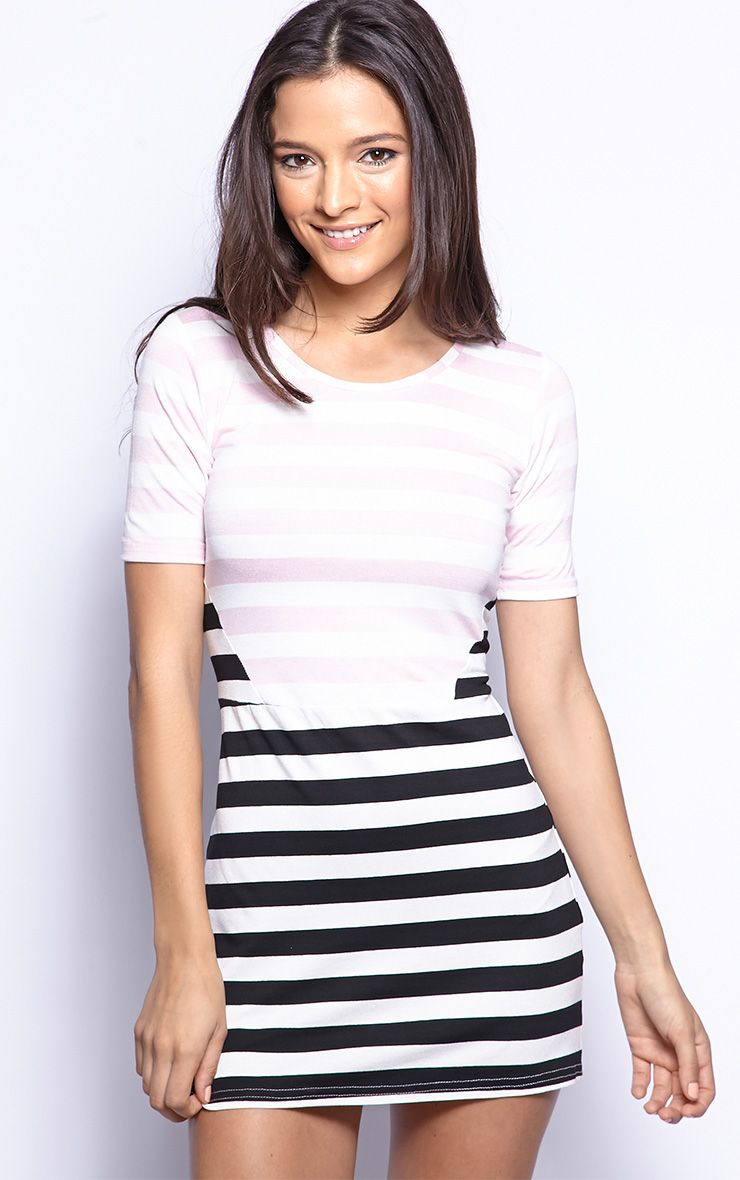 Mollie Pink Stripe Jersey Dress-8 1