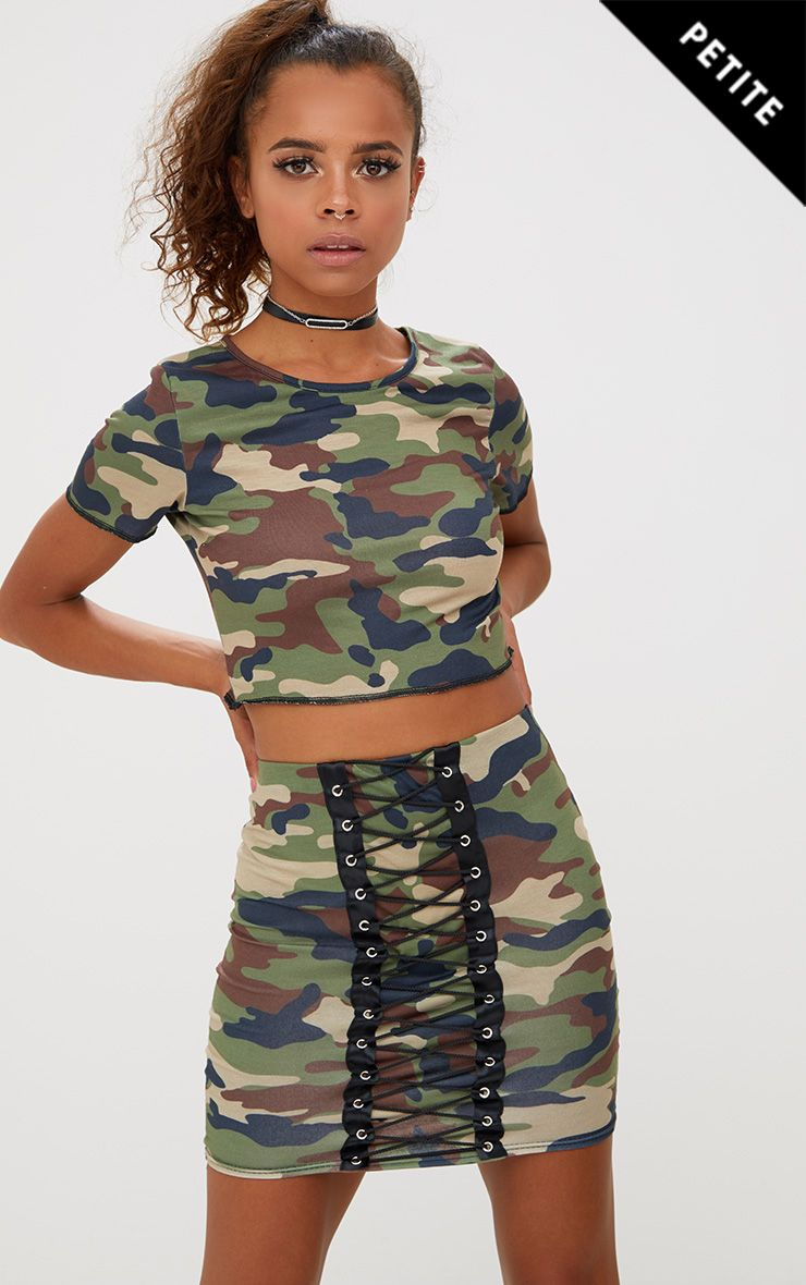 Petite Camo Lace Up Skirt