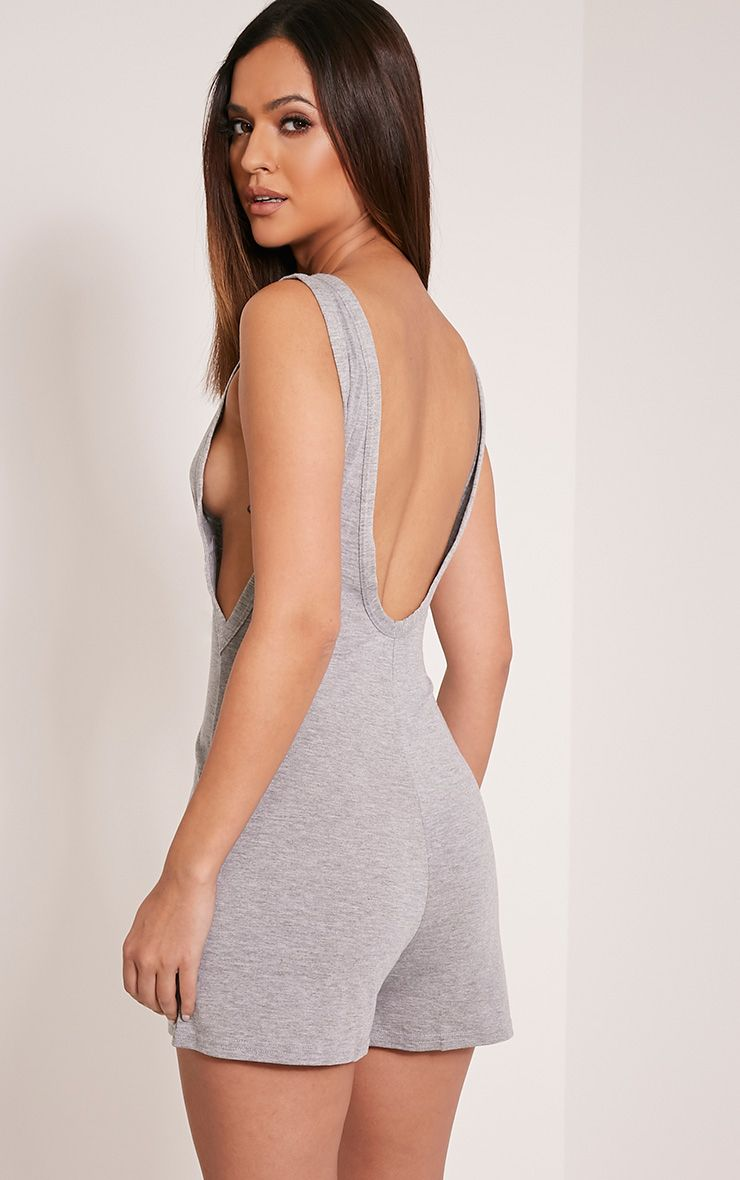 Basic Grey Scoop Back Playsuit 1