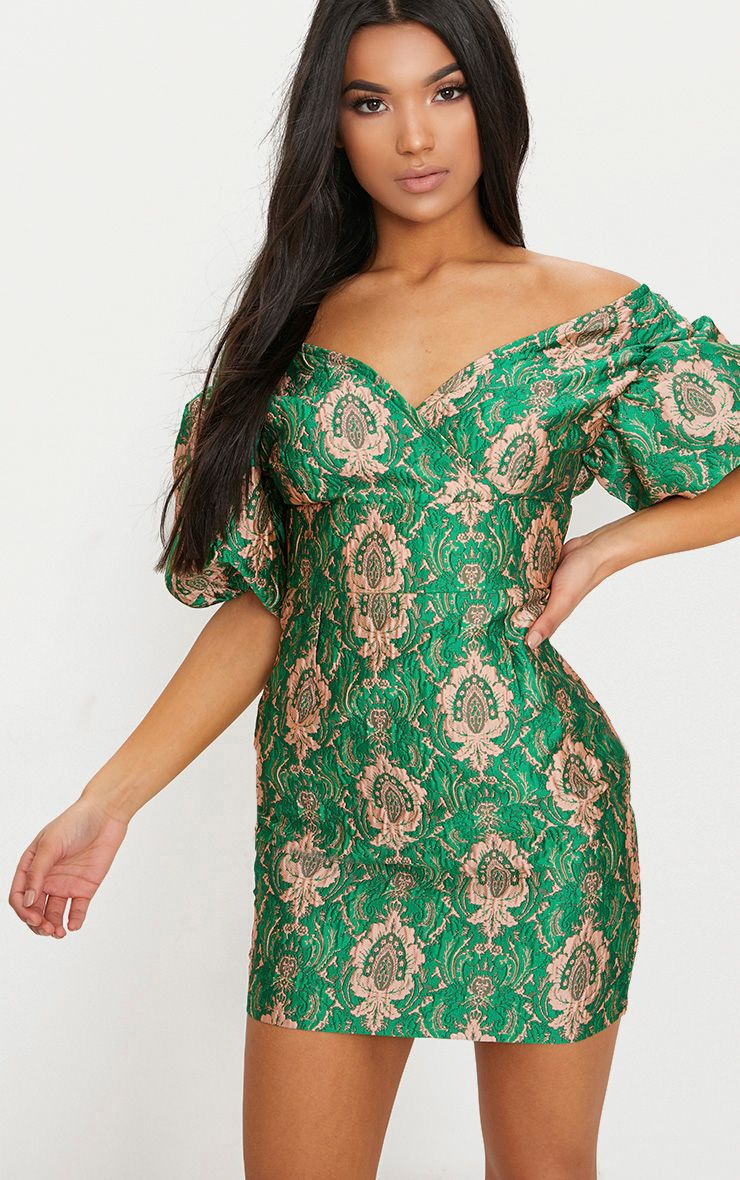 Green Jacquard Puff Sleeve Plunge Bodycon Dress