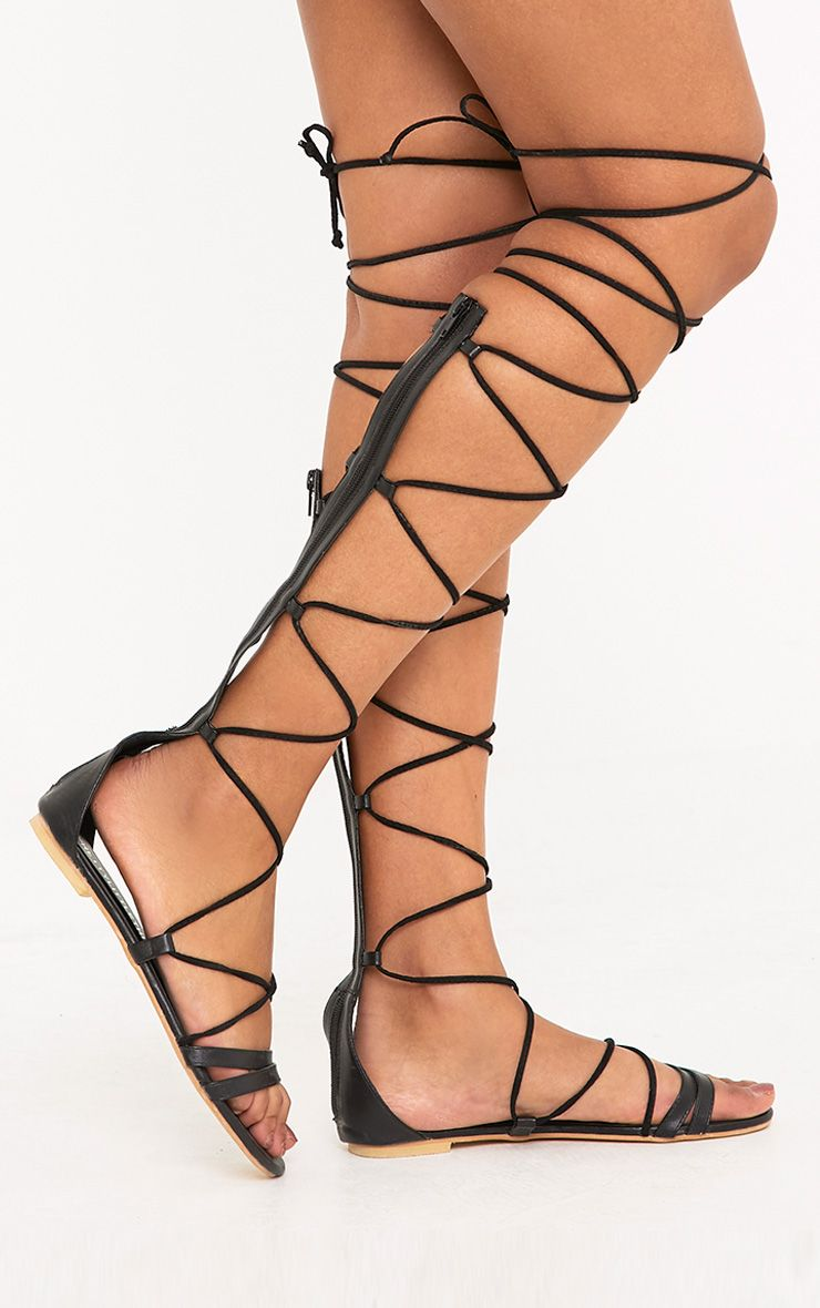 Lorna Black Over The Knee Lace Up Sandals