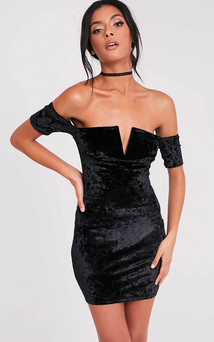 Cinda Black Bardot Plunge Detail Velvet Mini Dress