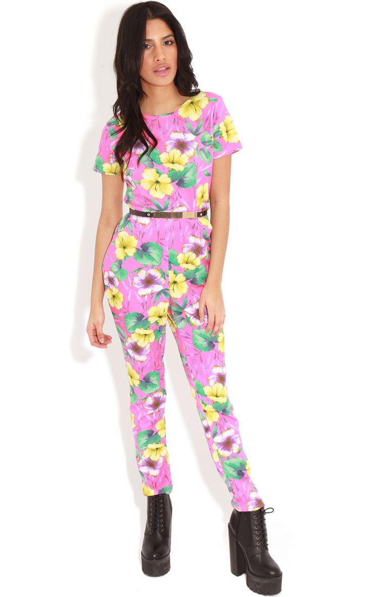 Brianna Fuschia Floral Print Belted Jumpsuit  1