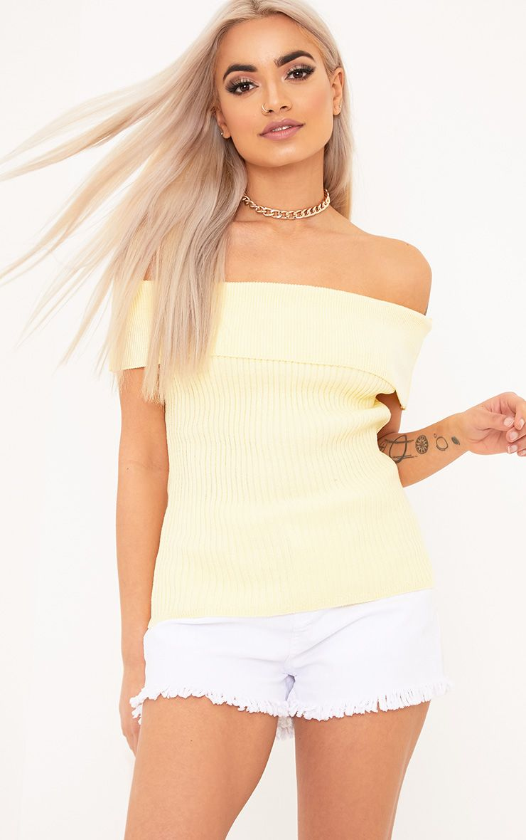 Adah Yellow Knitted Bardot Crop Top