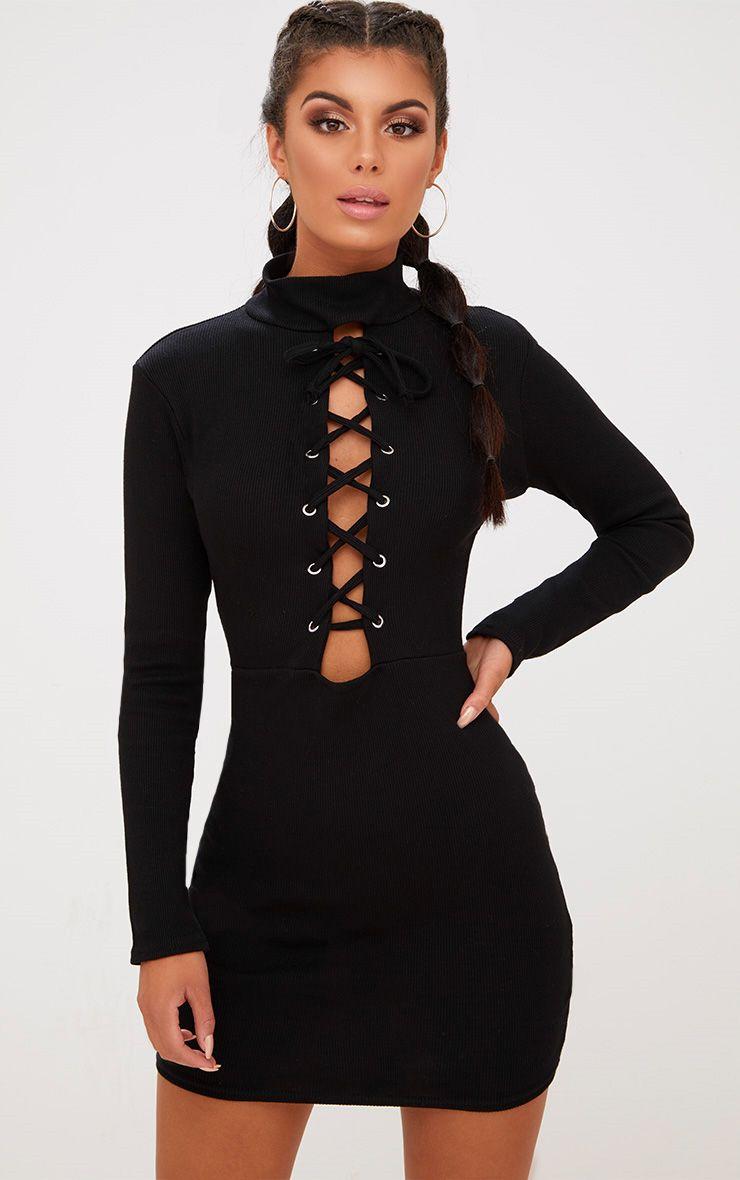 Black High Neck Rib Lace Up Bodycon Dress